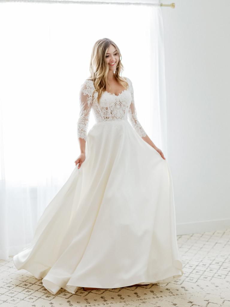 Quarter sleeve embellished gown