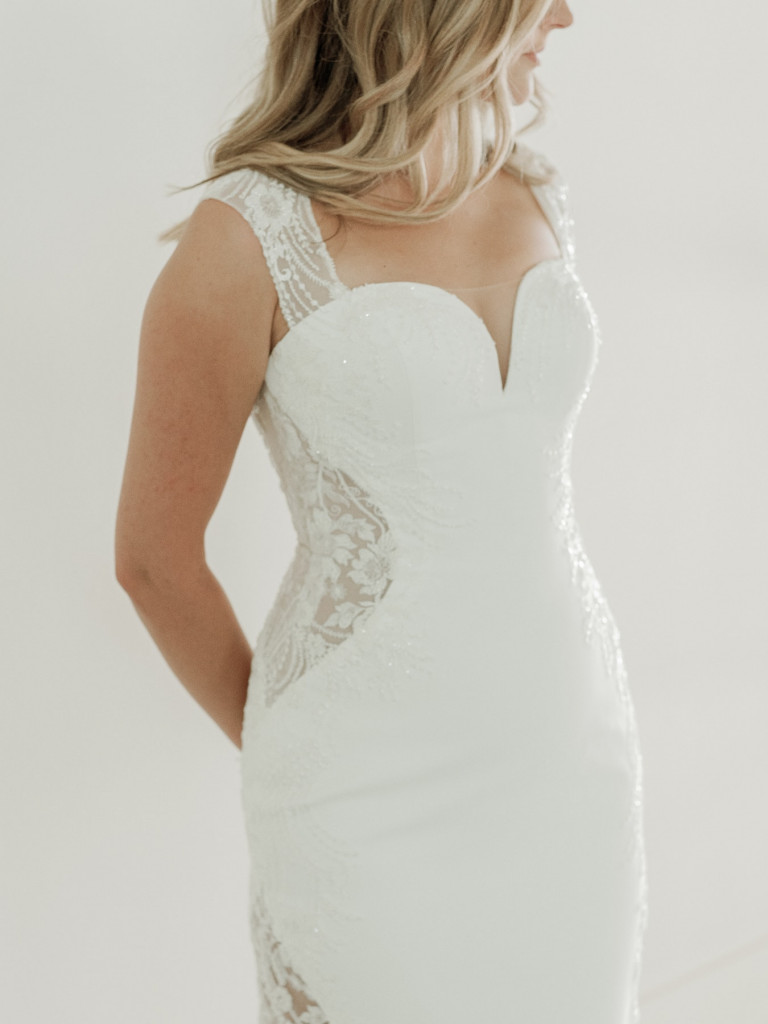 Fit and flare gown with cap sleeve