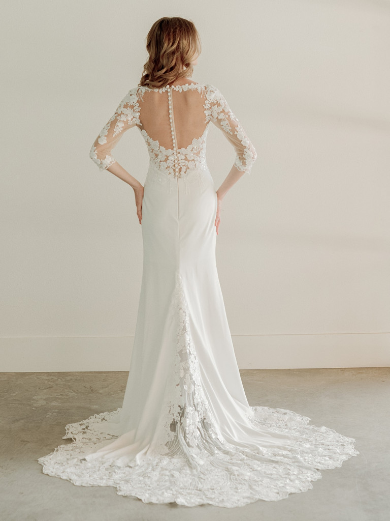 Lace sleeve modern bridal gown