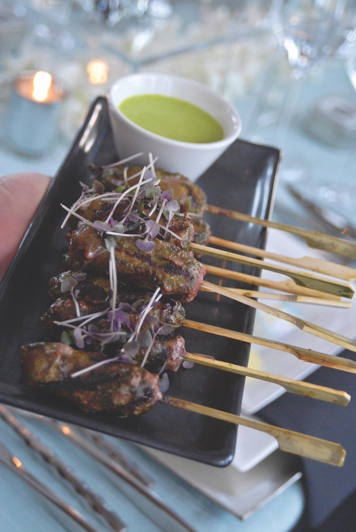 Beef satay skewers for wedding appetizer