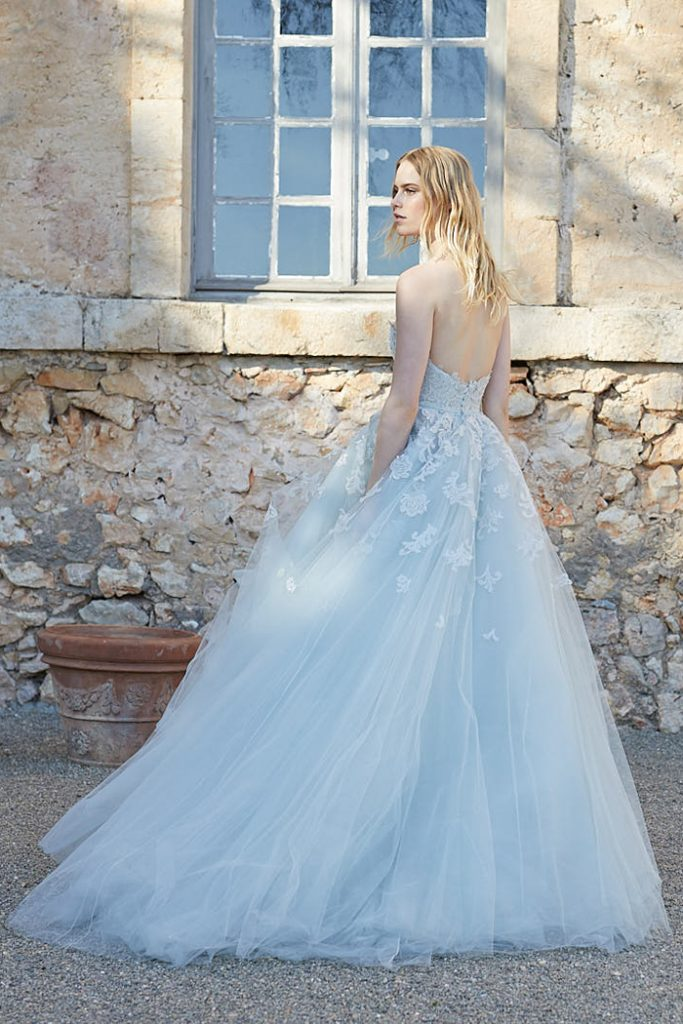 Silver wedding dress with lace embroidery