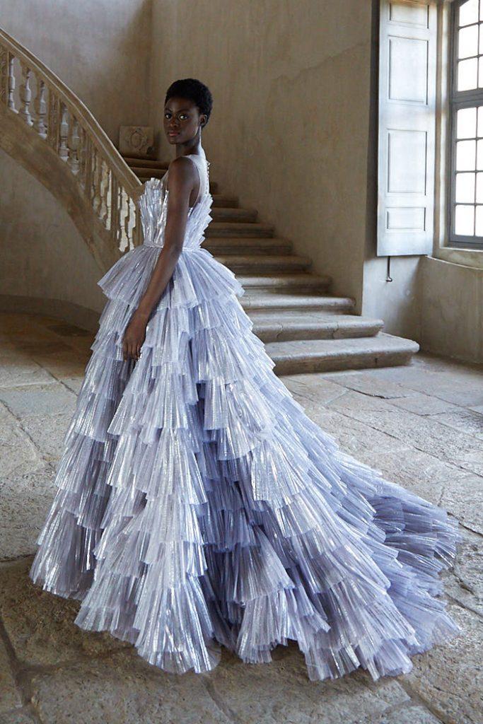 Silver metallic wedding ballgown