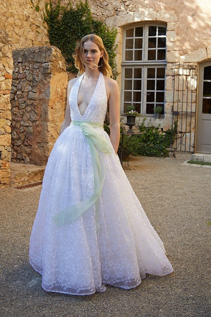 Plunging neckline organza wedding ballgown