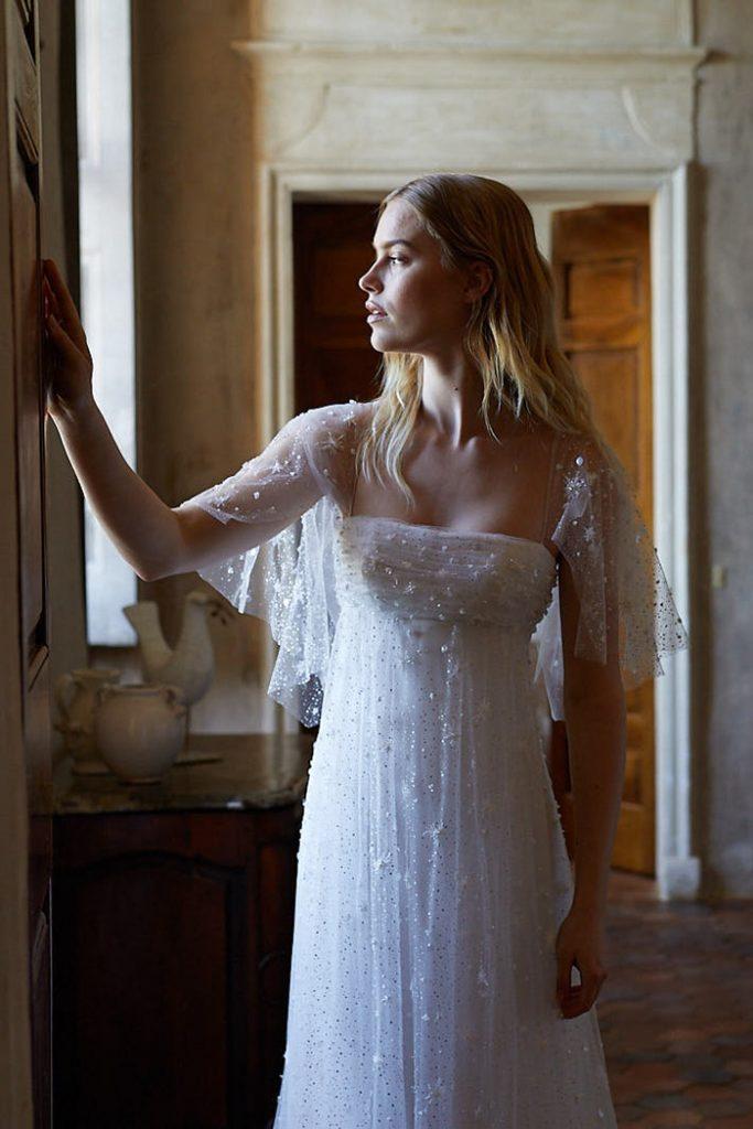 Polka dot wedding dress with wide sleeves