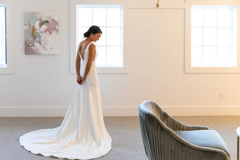 Modern minimalist wedding dress by Sarah Seven