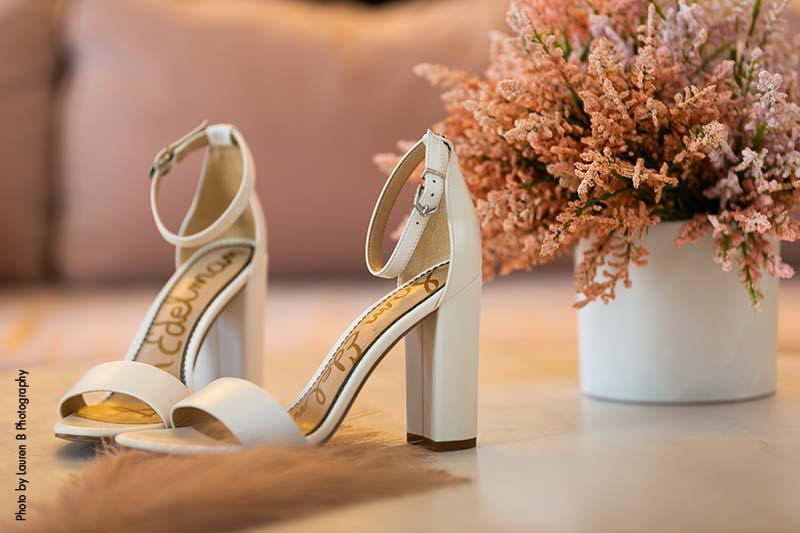 Strappy white bridal shoes