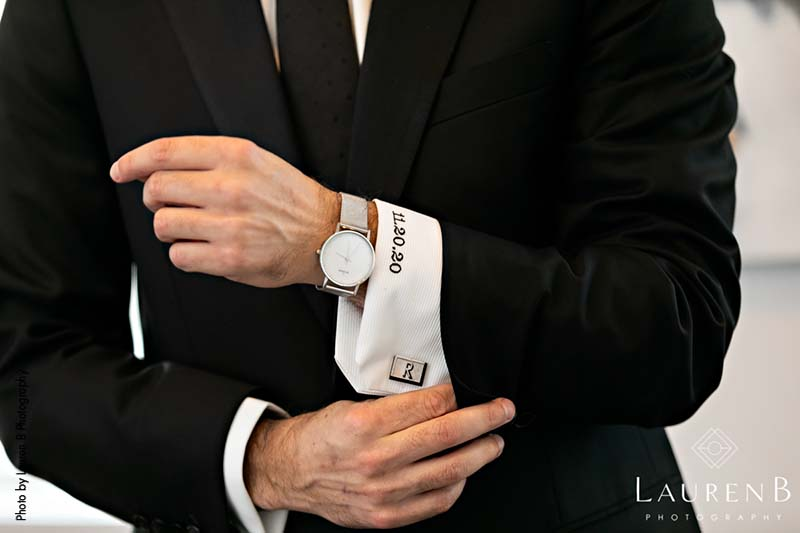 Groom has custom-stitched cuff