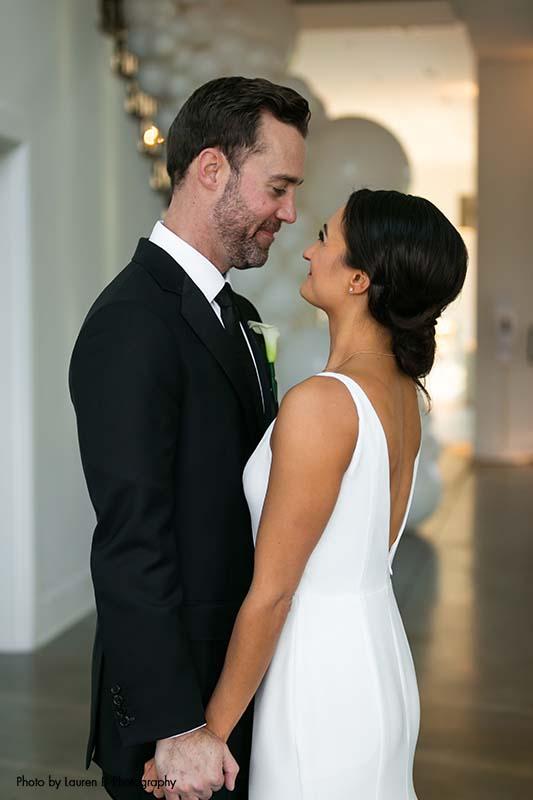 Minneapolis wedding couple at modern wedding venue