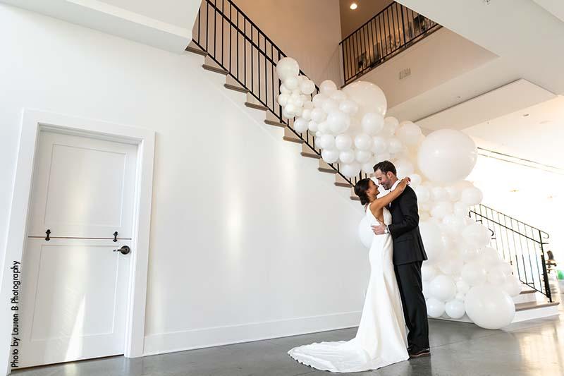 Black and white modern wedding venue The Hutton House
