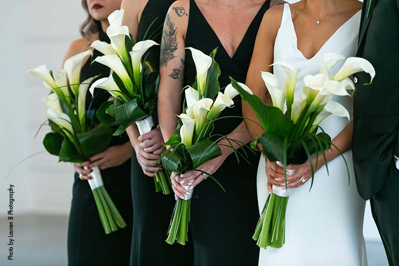 White calla lily bridesmaid bouquets