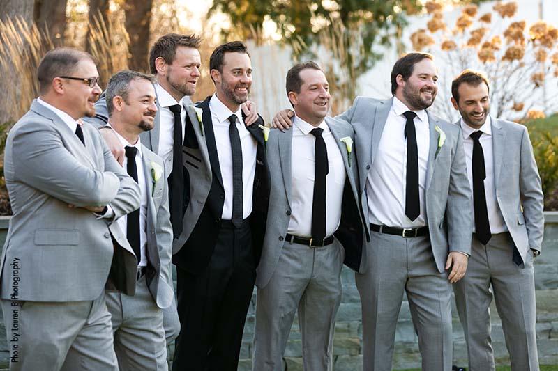 Groomsmen in simple gray suits