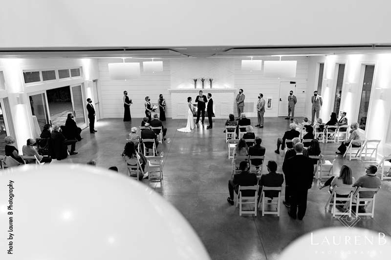 Intimate socially distant wedding ceremony