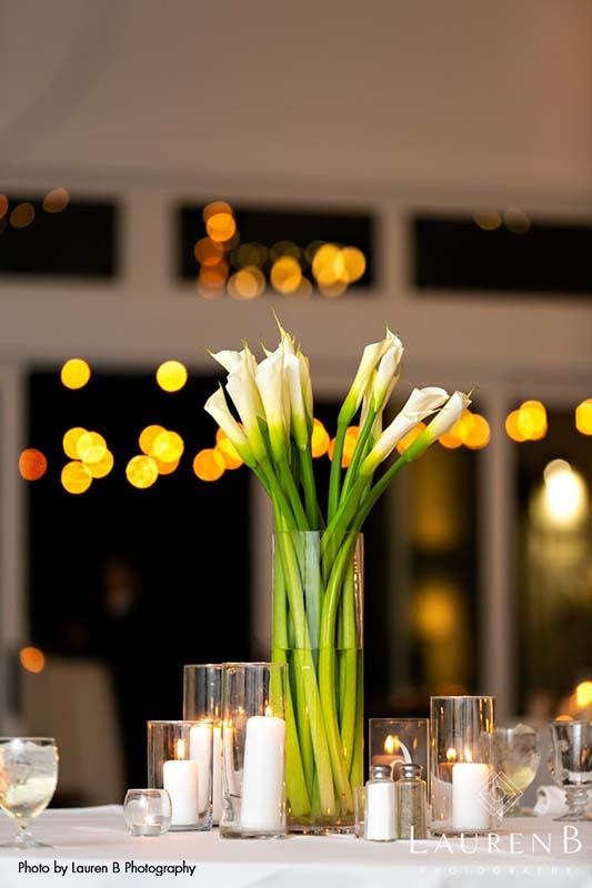 Tall Calla lilies as wedding centerpiece