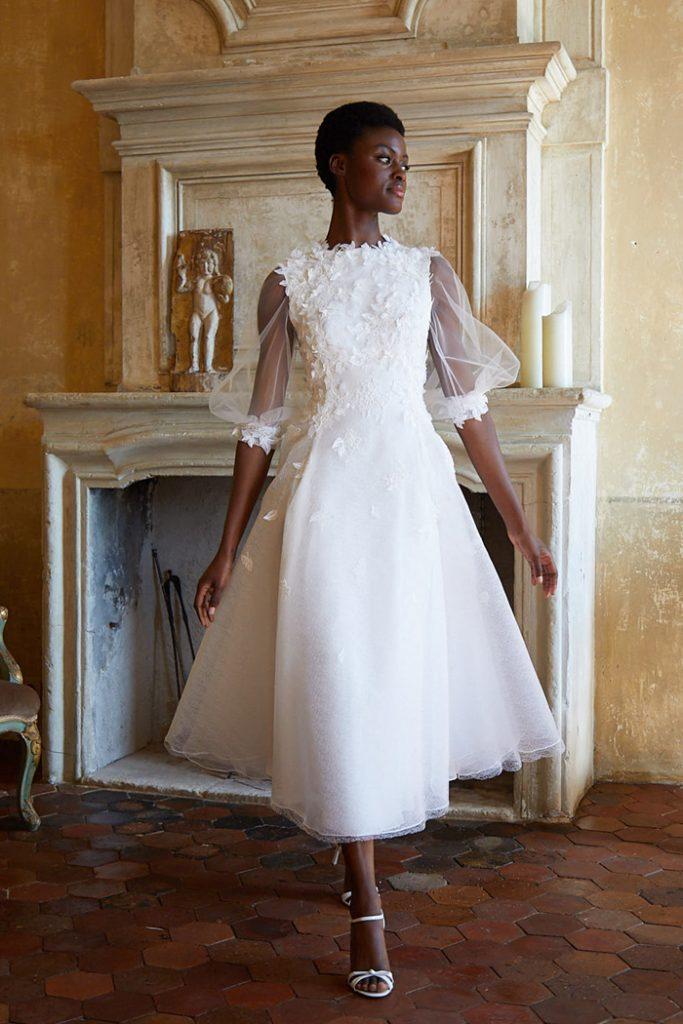 Tea-length wedding dress for micro wedding