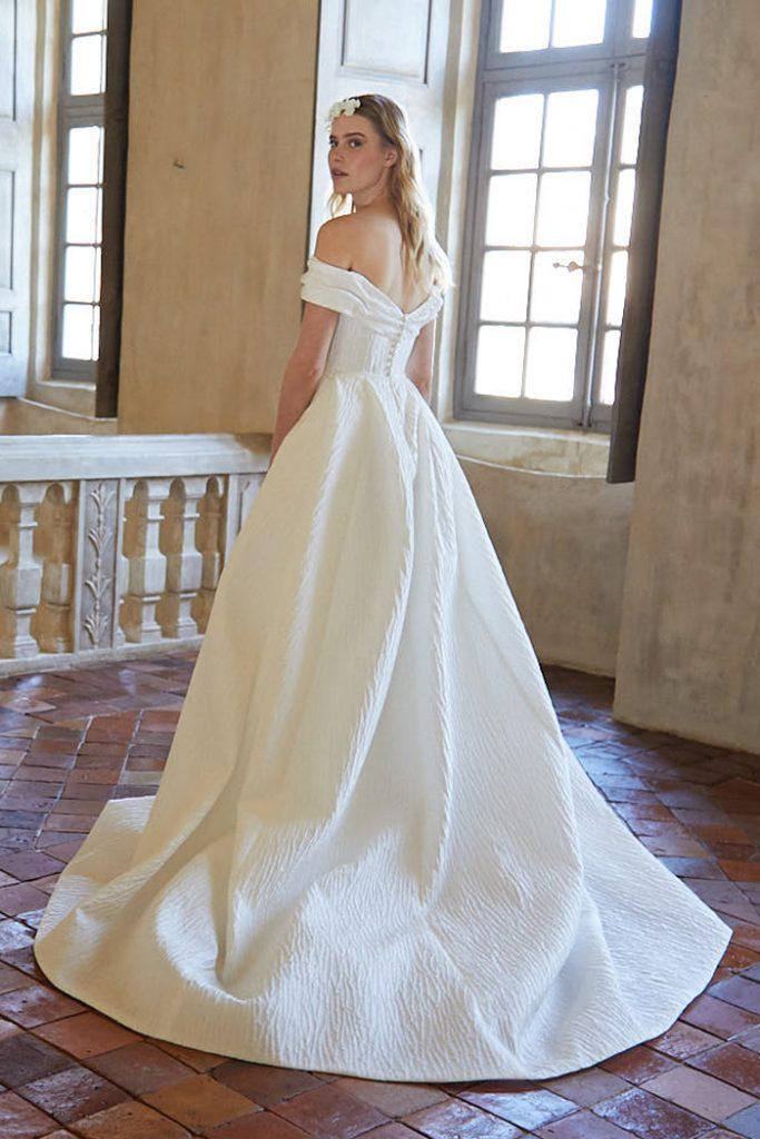 Jacquard off shoulder wedding gown