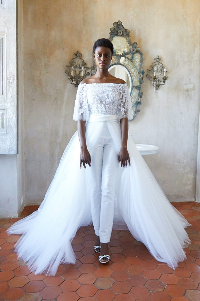 Two-piece bridal jumpsuit with overskirt