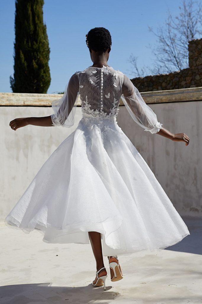 Tea-length tulle wedding dress by Peter Langner
