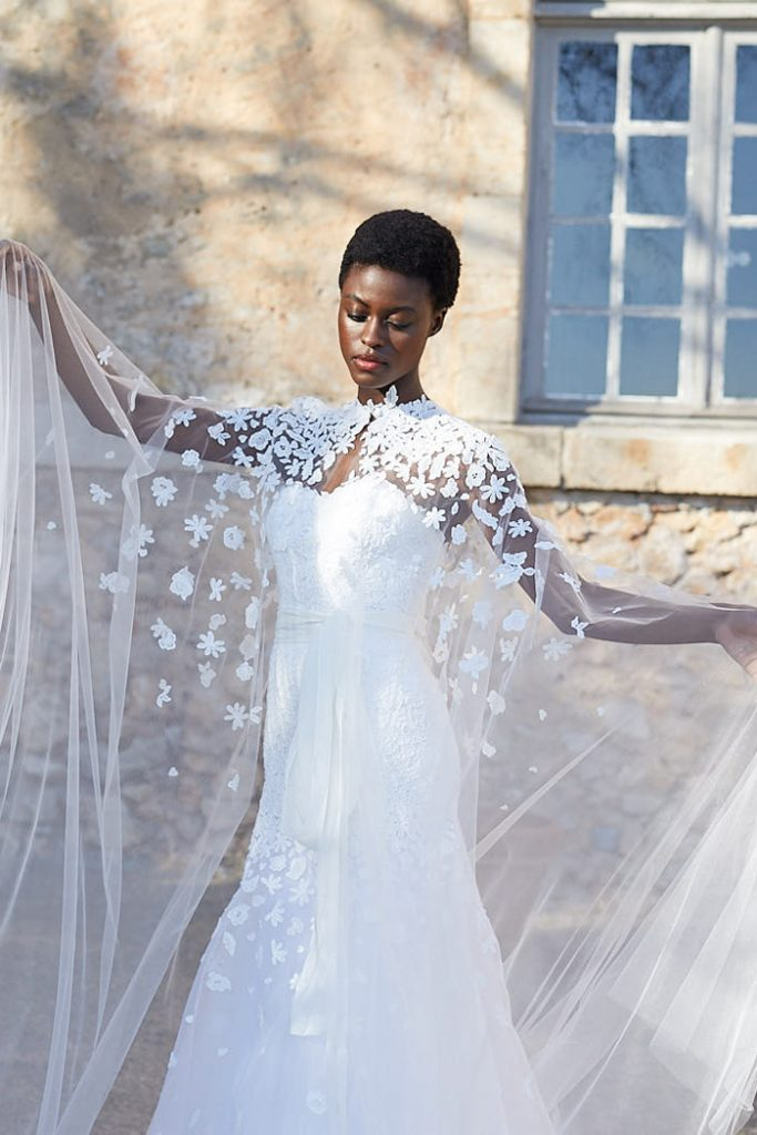 Mermaid wedding gown with long embroidered cape by Peter Langner