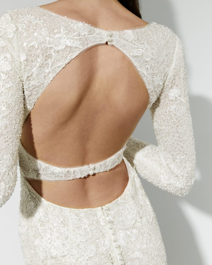 Long-sleeve embroidered shimmer lace wedding gown