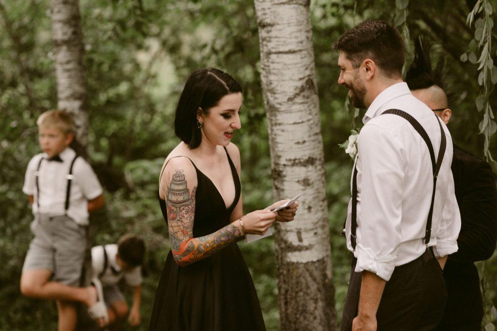 Couple recites wedding vows during ceremony