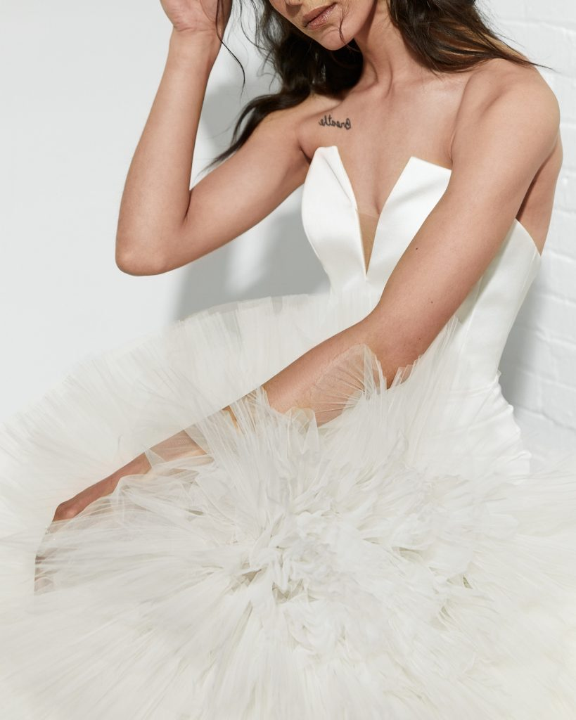Fit and flare textured wedding gown
