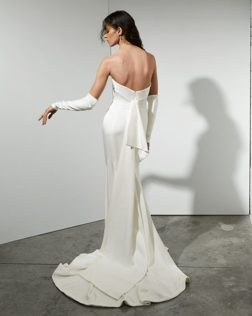 Satin crepe wedding gown