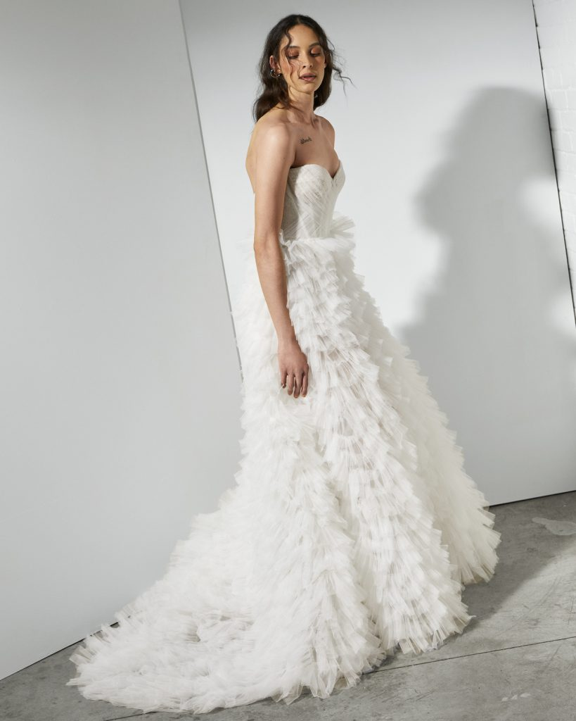A-line tulle skirt with corset bodice
