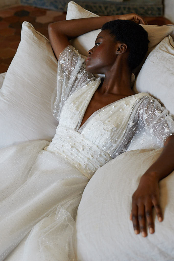 Embroidered wedding dress with embroidered bodice