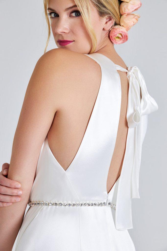 Satin sheath wedding gown with keyhole back
