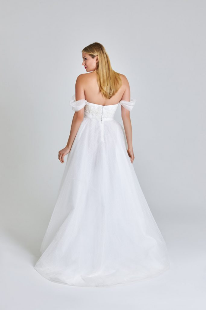 Lace applique ballgown with off-the-shoulder sleeves