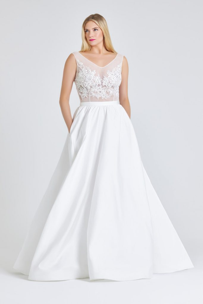 Bridal ballgown with pockets and mesh tulle top