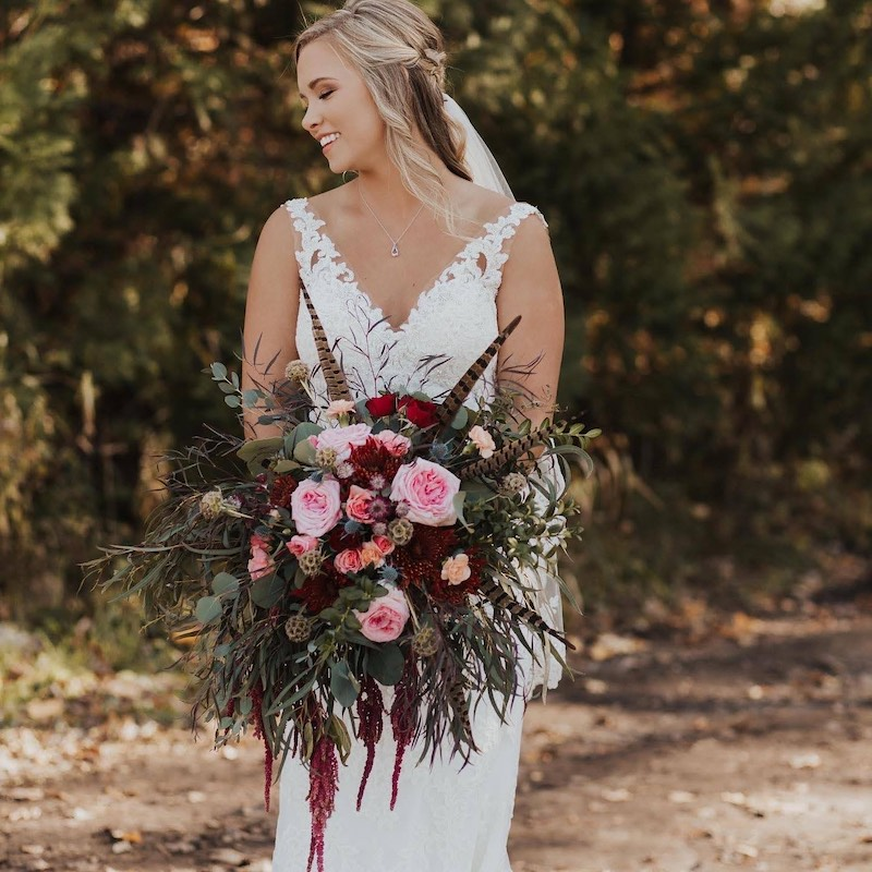 Outdoorsy fall bouquet with Amaranthus and greenery