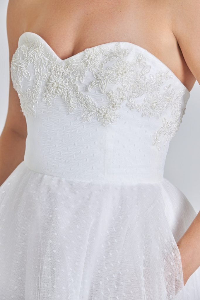 Bridal gown with embellished sweetheart neckline by Kosibah 2022