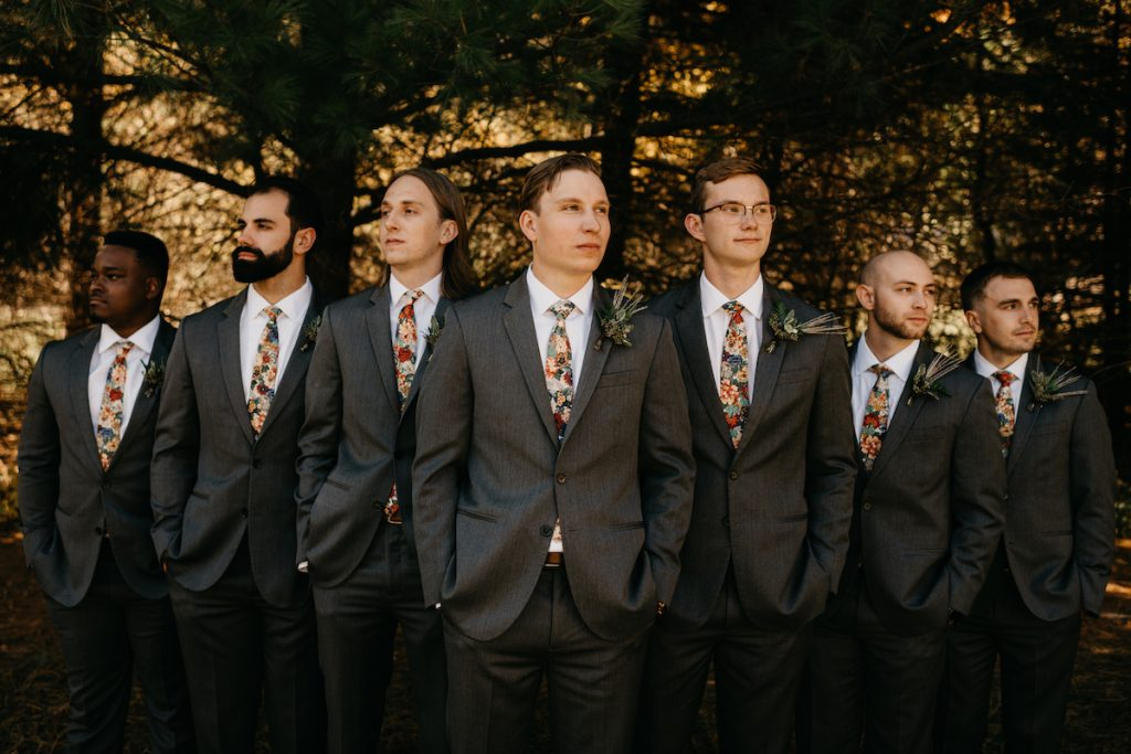Groom and groomsmen in charcoal suits