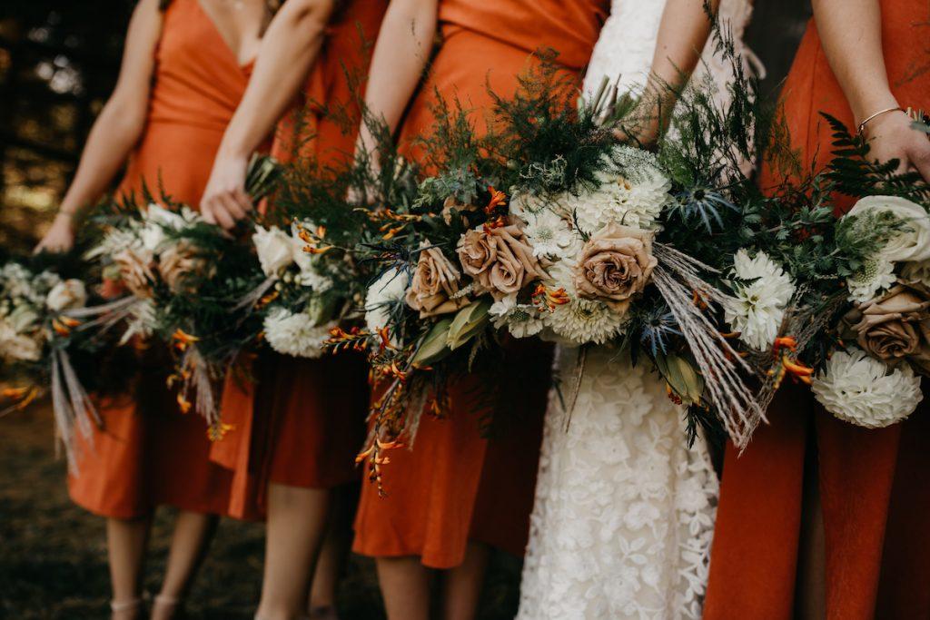 Midi burnt orange bridesmaid dresses