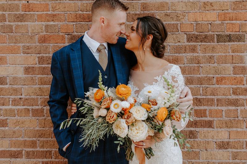 Orange and cream bridal bouquet