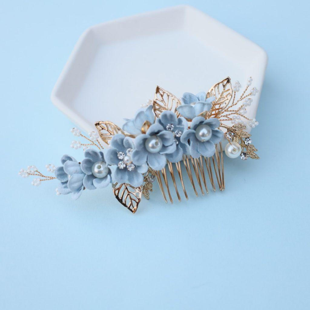 Dusty blue floral headpiece wedding something blues