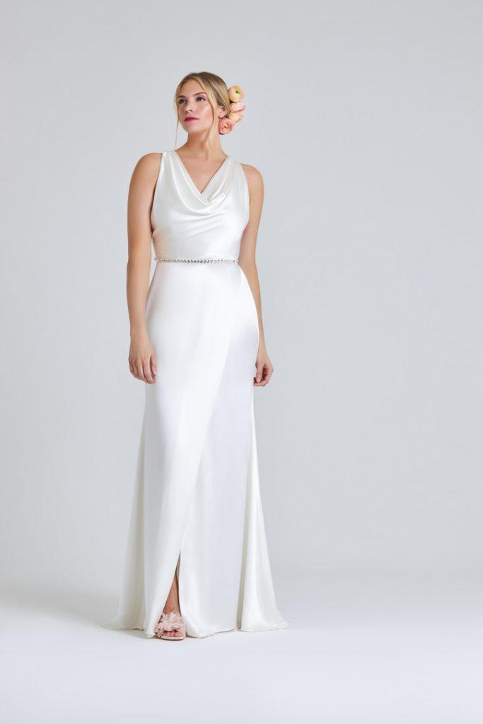 Simple white satin wedding dress