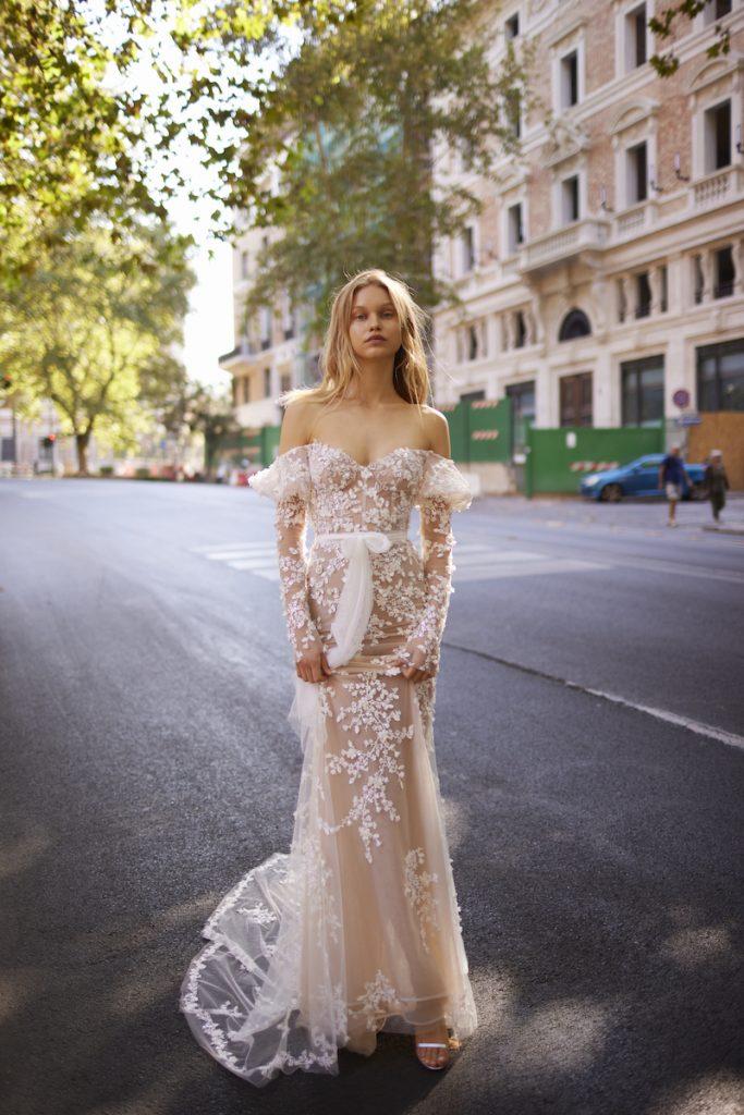 Floral applique off shoulder gown by Liz Martinez