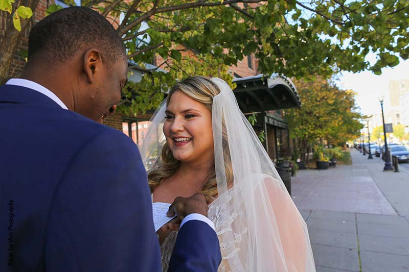 Groom sees bride in gown for the first time