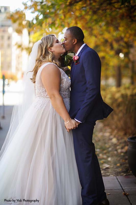 Bride and groom share first look outdoors
