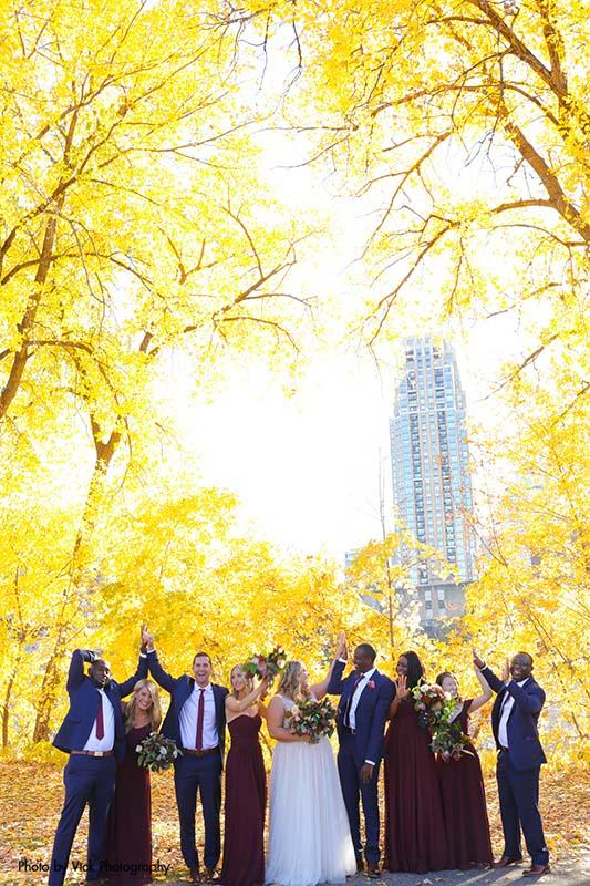 Fall wedding party