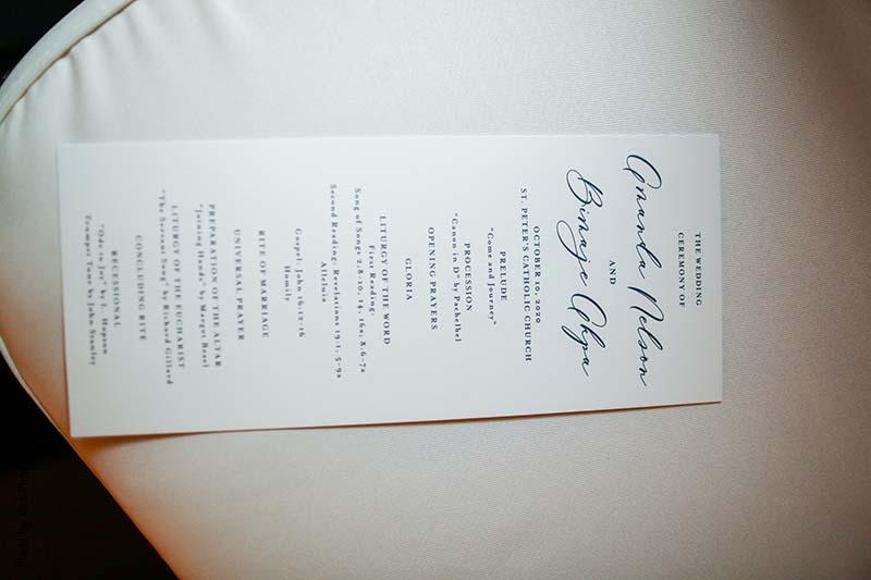 Black white and black simple wedding program