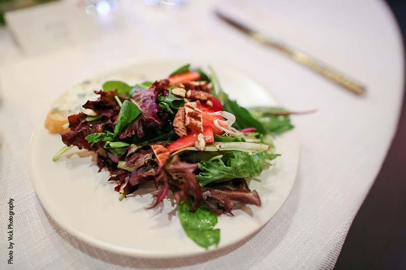 Salad course at wedding