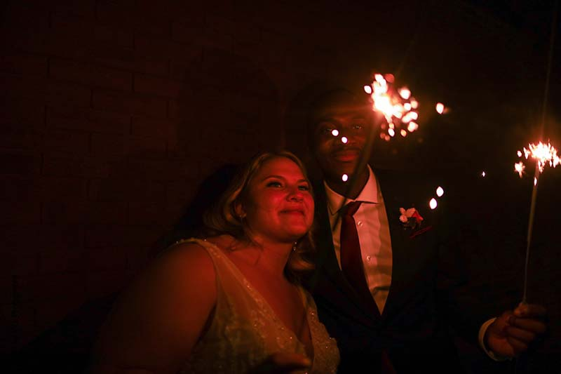 Bride and groom sparkler phtoo