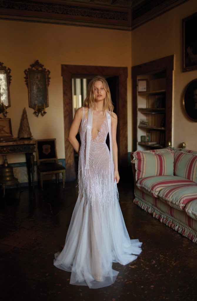 Bridal Gown with v-cut neckline and sequins