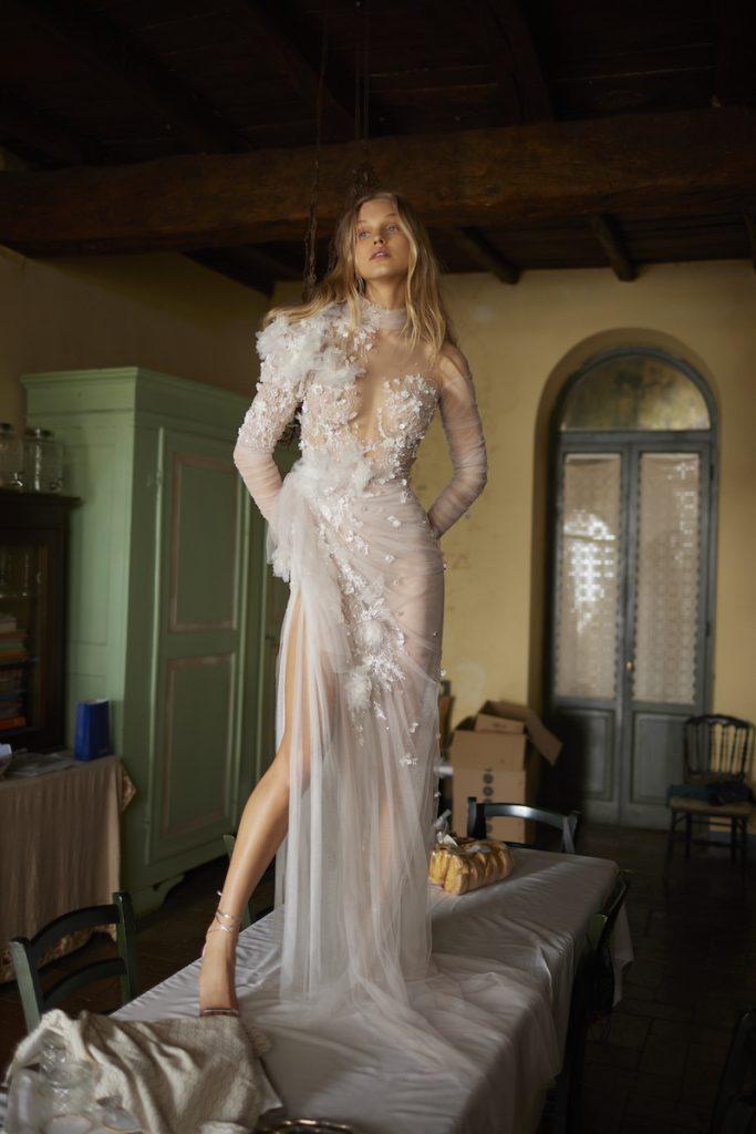 Long-sleeve dramatic embellished wedding gown