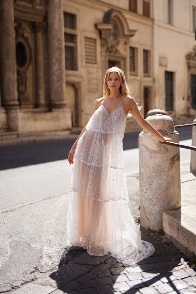 Tiered tulle gown with dots