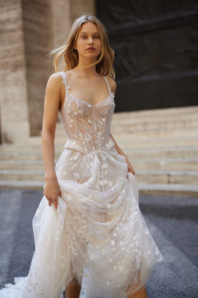 Corset bodice wedding gown with floral applique